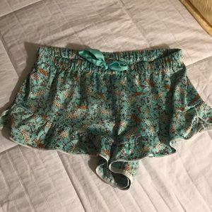Victoria's Secret silk ruffle shorts